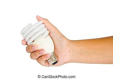 lampe, weißer hintergrund, hand