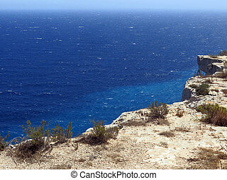 Lampedusa in Italy with Cliff and blue sea