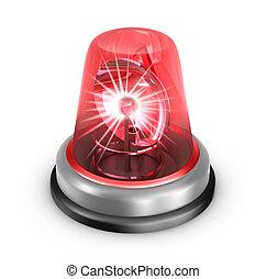 lampeggiatore, icon., bianco, isolato, rosso