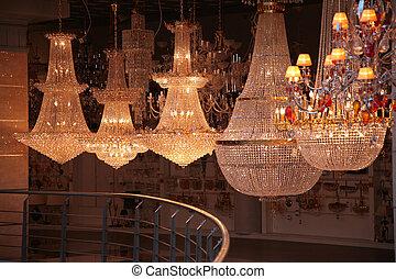 lampen, in, kaufmannsladen