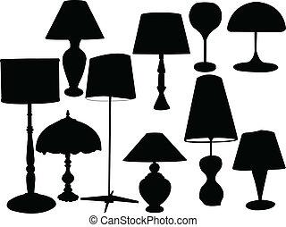 lampes, collection, -, vecteur