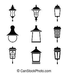 lampes, ensemble, rue, icône