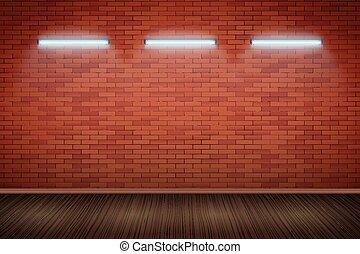 lampes mur, brique, néon, rouges