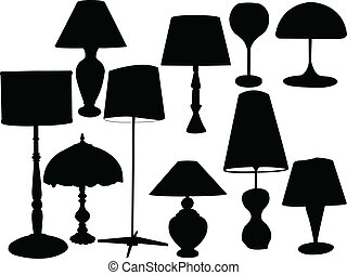lampes, vecteur,  -,  collection