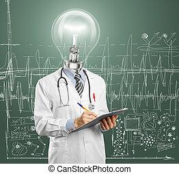lamphead, doktor, schreibende, etwas