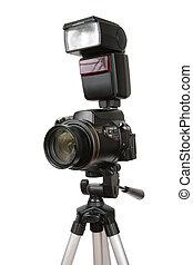 lampo, foto, moderno, macchina fotografica, treppiede