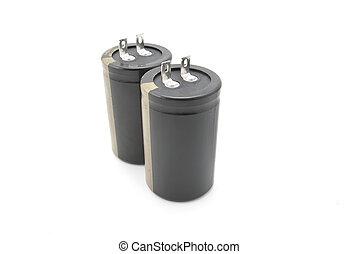 lampo, isolato, nero, condensatore, bianco, electrolytic
