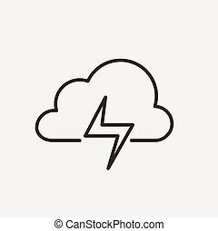 lampo, nuvola, icona
