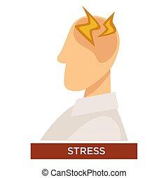 lampo, stress, testa, persona, segni, sintomo, dolore