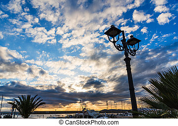 Lamppost in Alghero harbor