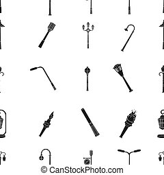 Lamppost in retro style, modern lantern, torch and other types of streetlights. Lamppost set collection icons in black style raster, bitmap symbol stock illustration web.