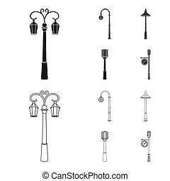 Lamppost in retro style, modern lantern, torch and other types of streetlights. Lamppost set collection icons in black, outline style bitmap symbol stock illustration web.