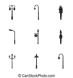 Lamppost in retro style, modern lantern, torch and other types of streetlights. Lamppost set collection icons in black style bitmap symbol stock illustration web.