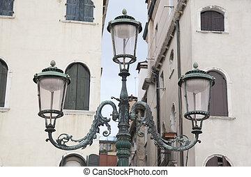 Lamppost in Square in Venice