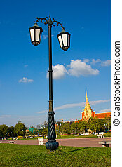 Lamppost in the park in Cambodia