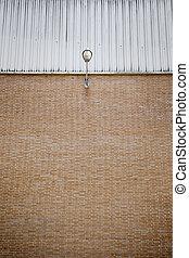 Lamppost on Brick Wall