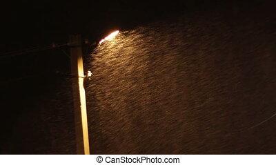 lamppost., orage, neige, fond, nuit