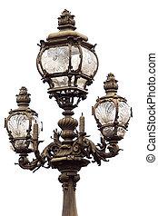 lamppost, retro, aislado