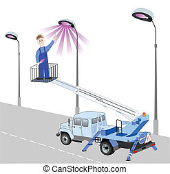 lamppost, tiene, substituido, electricista, bombilla