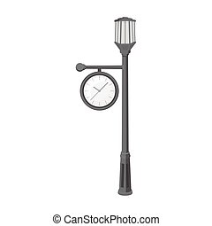 Lamppost with a clock.Lamppost single icon in monochrome style vector symbol stock illustration web.