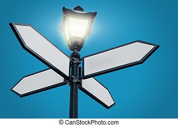 Lamppost with directional arrows