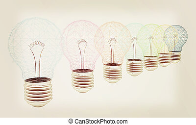 lamps. 3D illustration. Vintage style.