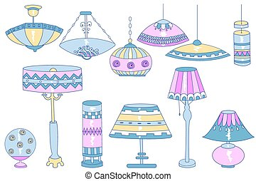 Lamps doodles - A set of bright doodle vector chandeliers,...