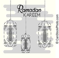 lamps hanging decoration to traditional festival vector illustration