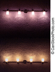 lamps - lanterns on shaded wall