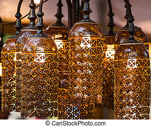 Lamps made of coconut shell.