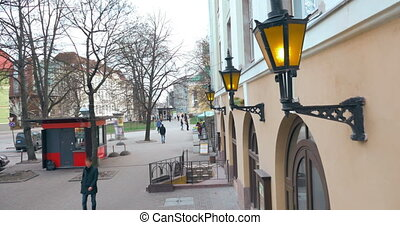 Lamps of Street Lighting on the Building Wall