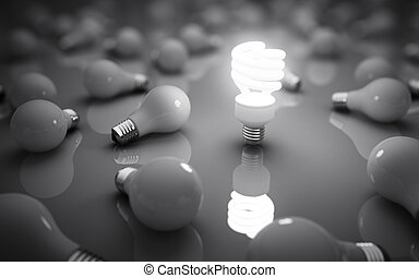 lamps on gray background, idea concept