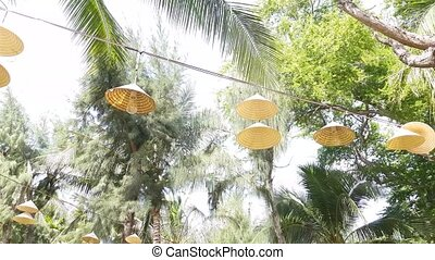 Lamps with abages from Vietnamese caps hang on a wire among ...