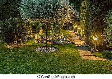 lampy, ogród, oświetlany