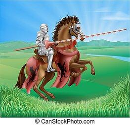 lança, armadura, jousting, cavaleiro