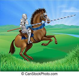 lança, cavaleiro, cavalo
