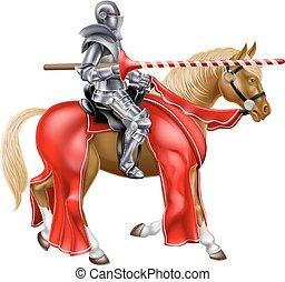 lança, cavaleiro, cavalo, medieval