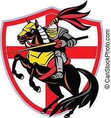 lança, inglaterra, escudo, cavaleiro, bandeira, retro, ...