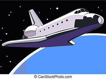 lançadeira, órbita, espaço