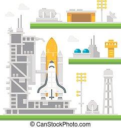 lançadeira, apartamento, estação, desenho, lançamento