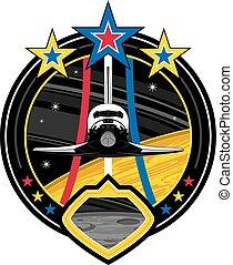 lançadeira, emblema, espaço