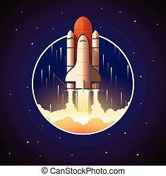 lançadeira, espaço, lançamento