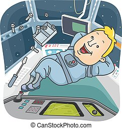 lançadeira, flutuador, astronauta, homem, espaço