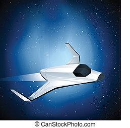 lançadeira, futurista, espaço
