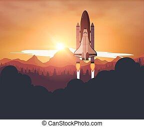 lançadeira, pôr do sol, fundo, espaço