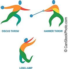 lançamento, ícone, martelo, discus, salto longo