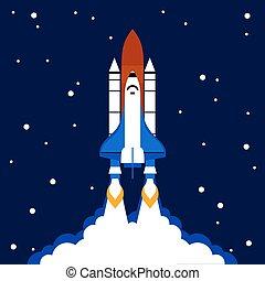 lançamento, conceito, foguete espacial, fundo