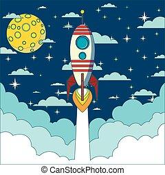 lançamento foguete, em, espaço, vetorial, fundo