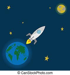 lançamento, foguete, lua