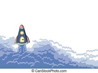 lançamento foguete, navio espaço, e, nuvem, de, smoke., vetorial, ilustração, com, cópia, space.